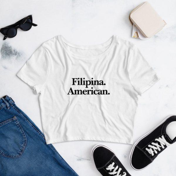 Filipina American Crop Tee Women's Premium Relaxed - Filipino Clothing - Pinay - Philippines - Asian Pacific American Month - Filipino Gift