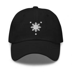Filipino Sun Dad Hat BLACK/WHITE EMBROIDERED - Funny Filipino Gift - Pinoy - Pinay - Philippines - Filipino American - Filipino Pride Symbol