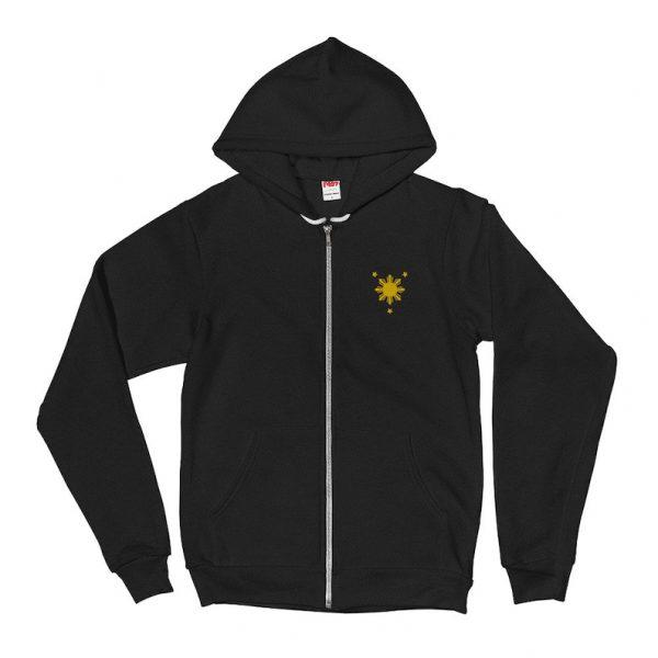 Filipino Symbol Sun Star Embroidered ZIP-UP Hoodie Unisex / Men's - Funny Filipino Clothing - Pinoy Pinay - Phillippines - Pride