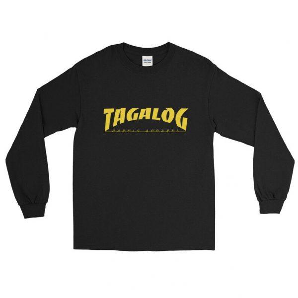 Tagalog Skateboarder Long Sleeve Relaxed Shirt Unisex / Men's - Funny Filipino Clothing - Pinoy Pinay - Phillippines - Skateboard Parody